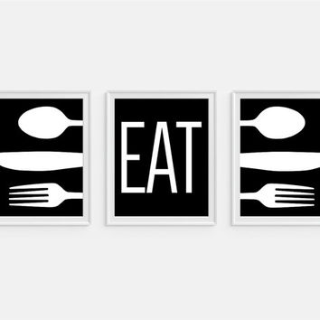 Kitchen art print eat quote fork spoon knife art set of three 5x7