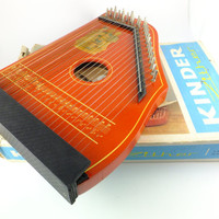 Antique Zither, Harp, Fretless Musima Zither, Germany, Musical Instrument Kinder Zither Children Zither Original Box Made in GDR