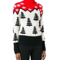 Block Christmas Tree and Snowflake High Neck Sweater