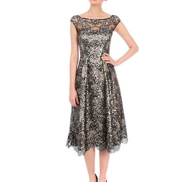 Kay Unger Metallic Lace A Line Dress