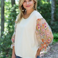 Kohen Sheer Embroidered Top, Natural