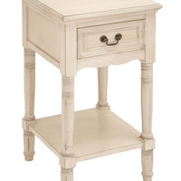Harvey & Haley Night Stand in Elegant off White Color with Fine Detailing