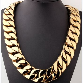 32mm Super Heavy Thick Mens Flat Round Curb Cuban Chain Necklace