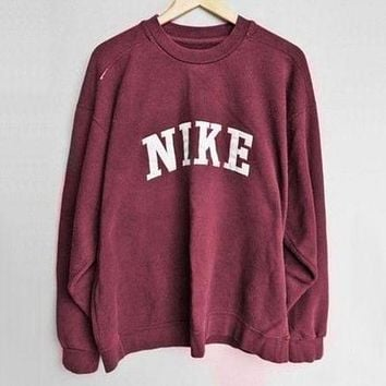 NIKE Fashion Women Men Casual Long Sleeve Sport Top Sweater Round Collar Pullover Sweatshirt I