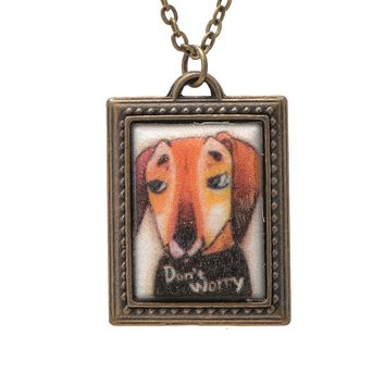 Folk Art Don't worry Dog Picture Frame Necklace