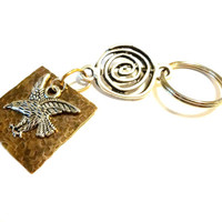 Masculine Copper and Silver Eagle Keychain, Gift For Dad, Automobile Accessories