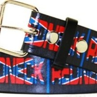 Redneck with Rebel Flag Leather Belt - Small 28-32