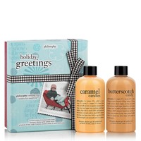holiday greetings | caramel candies and butterscotch candy gift set | philosophy bath & body value sets