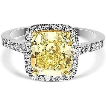 A Perfect 2.1CT Cushion Cut Canary Yellow Fancy Russian Lab Diamond Engagement Halo Ring