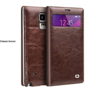 Real Genuine Leather case for Samsung Galaxy Note 4 Wallet Style Flip Phone Cover with Card Slot Drop Ship,Brown and Black