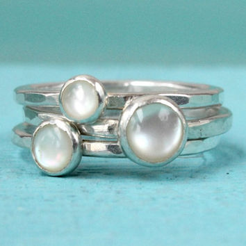 Mother of pearl rings, set of 3 Stacking rings, sterling silver, handmade stackable rings, ring stack, white rings, silver rings