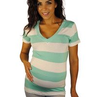 Oceanfront Properly Striped V-Neck Maternity Top