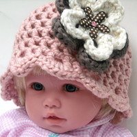Crochet Baby Girl Hat Pink Organic Cotton Sizes Newborn to 24 Months with Flowers Scalloped Edge Photo Prop Infant Toddler