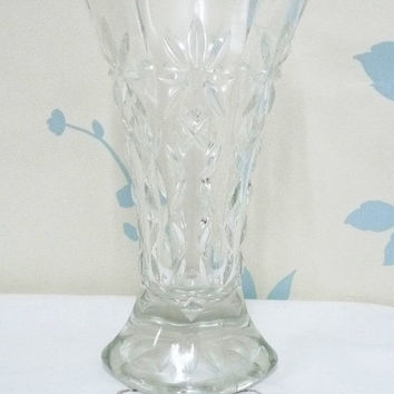 SALE German Posy Vase, Depression Glass, Pressed Glass, Scalloped Rim, Small Clear Glass Vase, flower arrangement, arranging, homewares, 060