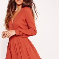 Missguided - Long Sleeve Frill Plunge Skater Dress Orange