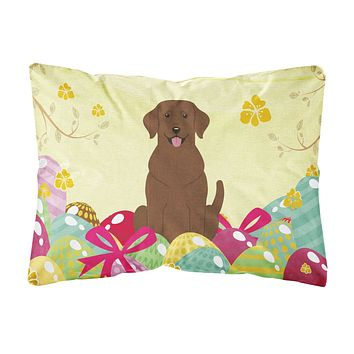 Easter Eggs Chocolate Labrador Canvas Fabric Decorative Pillow BB6056PW1216
