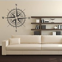 Wall Decal Vinyl Sticker Decals Art Decor Design Compass Rose Nautical Navigate Ship Ocean Beach Living Room Bedroom Gift Dorm (r302)