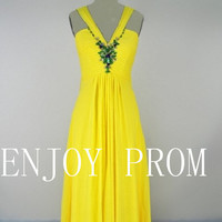 A-line  Strap Beading Chiffon floor-Length Bridesmaid/Evening/Prom Dress