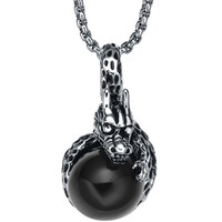 Stainless Steel Black Ball Clenching Dragon Pendant Necklace