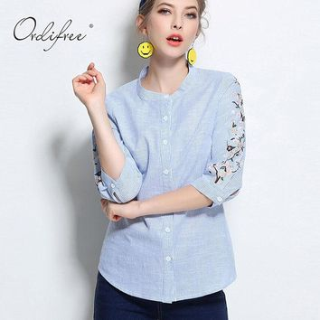 Ordifree Top 2017 Summer Female Blouse Cotton Flower Embroidered Plus Size 3XL 4XL Floral Embroidery Women Striped Shirt