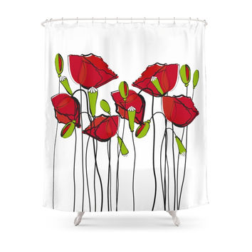 Society6 Whimsical Red Poppies Shower Curtains