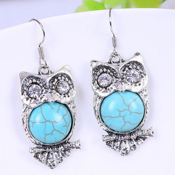 Bohemia Animal Owl Bird Ethnic Vintage Tibetan Silver Blue Turquoise Bead Dangle Earrings SM6