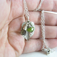 Leaf Gemstone Pendant Necklace Sterling Silver Leaf Necklace with Smokey Quartz and Vessonite Green and Brown Gemstone Jewelry
