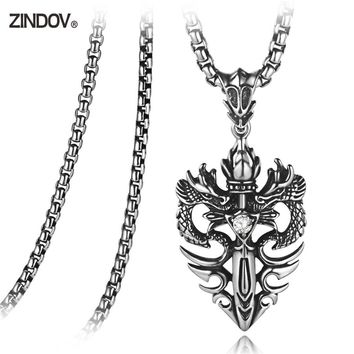 ZINDOV Men Necklace Pendants Stainless Steel Shield Defence Crystal CZ Long Chain Black Trendy Punk Jewelry Accessories For Male