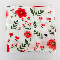 Organic Baby Muslin Swaddle - Red Poppy