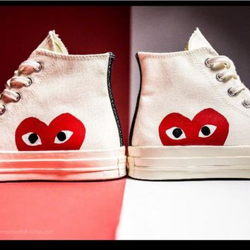 Converse Play Fashion Casual Loving Heart Reflective Sneakers High Top With Low Top Sport Shoes G