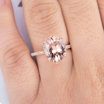 Morganite Engagement Ring Rose Gold Floral Flower Oval Cut Unique Antique Art Deco Wedding Ring Diamond Bridal Women Art Deco Ring
