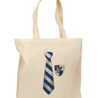 Wizard Tie Blue and Silver Grocery Tote Bag
