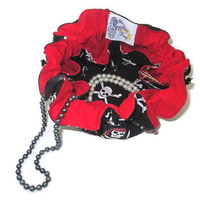 Drawstring Travel Jewelry Pouch / Satchel - Medium - Pirate Skulls with Red Flannel