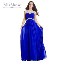 Cheap Royal Blue Bridesmaid Dresses Long 2017 Cap Sleeve Chiffon Beaded Red Wedding Party Dresses Vestidos De Madrinha