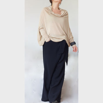 Loose Style Sweater/ XXL XXXL Cowl Neck Wide Sweater/ Oversize Top / Off Shoulder Top /