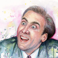 Nicolas Cage Meme You Don't Say Watercolor Painting Giclee Print | Reddit Meme Art | A Vampire's Kiss