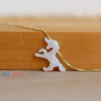 Unicorn Necklace / White Opal Unicorn Pendant / Opal Choker / Tiny Unicorn Jewelry / Opal Necklace / Animal Necklace Birthday Gift For Girls