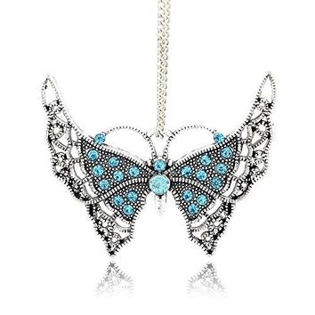SHIP BY USPS: Kissity 2Pcs Antique Silver Plated Aquamarine Color Rhinestone Butterfly Charm Pendants for Mothers Day Gift Jewelry Making