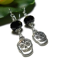 Sugar Skull Earrings Black and Silver Handmade Fashion Jewelry 2 Inch