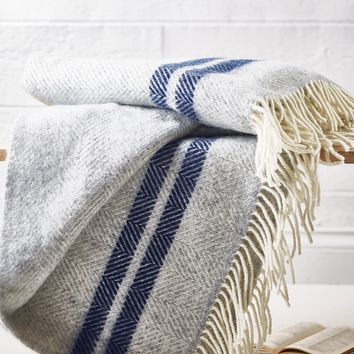 NEW Wool Throw - French Stripe