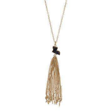 Small Black Louisiana Charm Tassel Necklace With Gold Chain