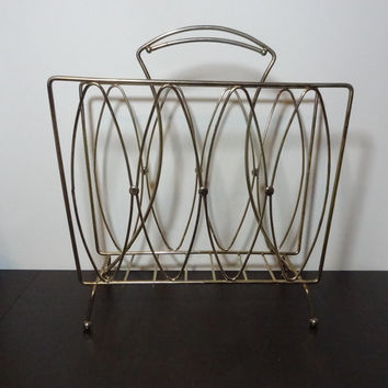 Vintage Retro Brass or Gold Tone Metal Atomic Style Magazine Rack