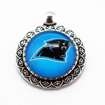 Hot selling 10pcs/lot Team football Sports Carolina Panthers Hanging Glass Pendant Dangle Charms For Necklace Jewelry