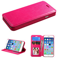 Book-Style Flip Stand Leather Wallet Case for iPhone 6 - Hot Pink