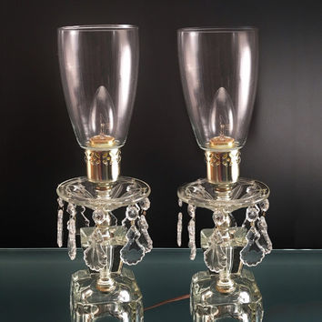 Accent / Boudoir Lamps with Hanging Prisms (Set of 2)