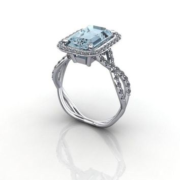 Emerald Cut Aquamarine and Diamond Engagement Ring
