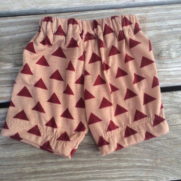 Baby shorts, unisex shorts, red triangle on tan shorts, lightweight shorts, baby outfits, summer outfits for baby