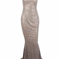 Honey Couture AMELIE Silver & Nude Glitter Mermaid Formal Gown Dress