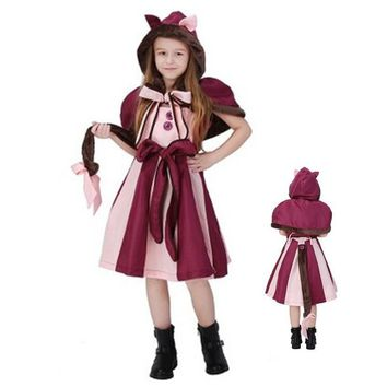 New children Alice in Wonderland Cosplays Girls Halloween Cheshire Cat Costume Animal Christmas stage show Role play party dress