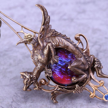 Dragon Necklace Steampunk Dragon Necklace Dragons Breath Fire Opal Jewelry Gift